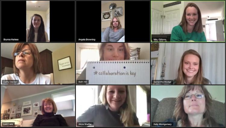 Spring Mills Primary School kindergarten teachers gather online April 21 in one of their weekly virtual meetings with Principal Nicole Krause to discuss new and fun ways they are finding to reach students who haven't been in a classroom since mid-March due to the COVID-19 pandemic.